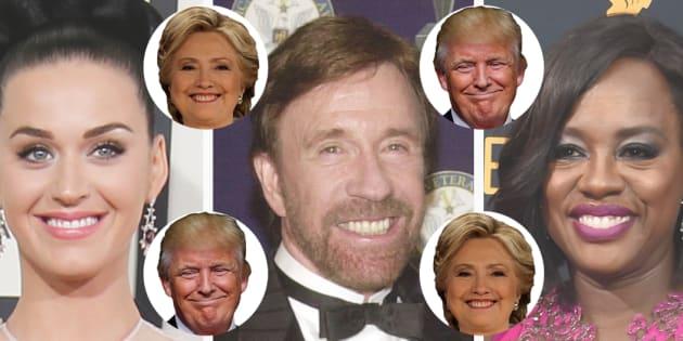 Katy Perry, Chuck Norris ou encore Viola Davis ne cachent pas l'identité de leur candidat favori.
