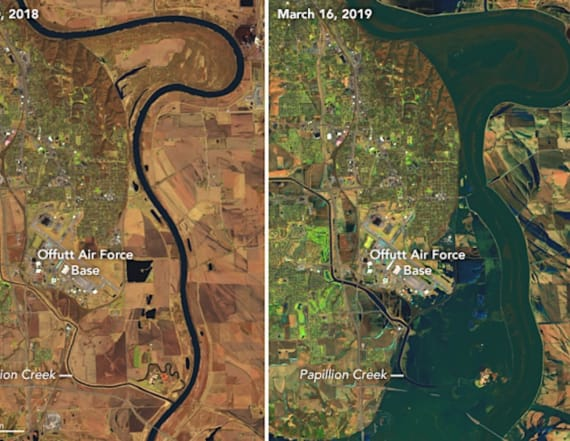 Photos from space show historic Nebraska flooding