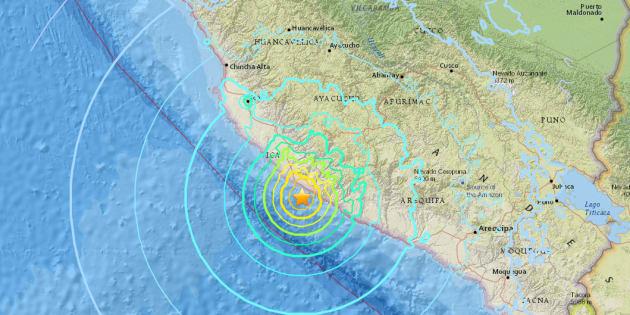 ペルー南部沖で起きた地震情報。アメリカ地質調査所の公式サイトより