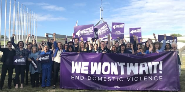 'We Won't Wait' campaigners outside parliament on Thursday