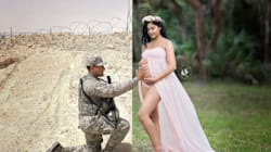 Deployed Husband Gets To Be Part Of Wife's Maternity Photo