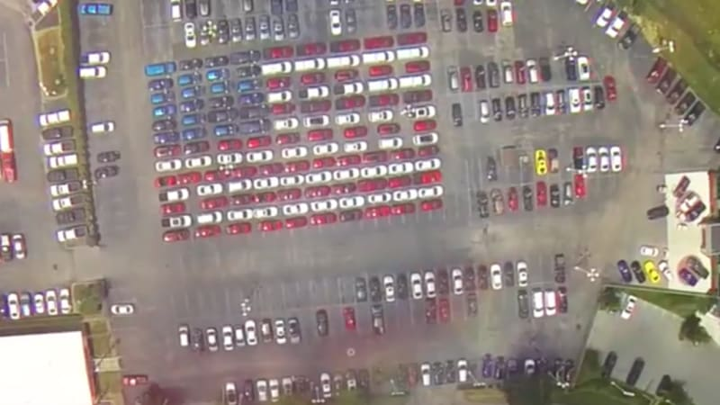 Kentucky dealer makes giant American flag with cars