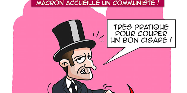 """La caricature d'Emmanuel Macron par """"Xav"""" qui a été utilisée par Les Républicains."""