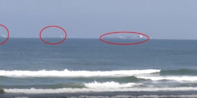 Captura de pantalla que muestra algunos de los buques varados frente a las costas de Veracruz.
