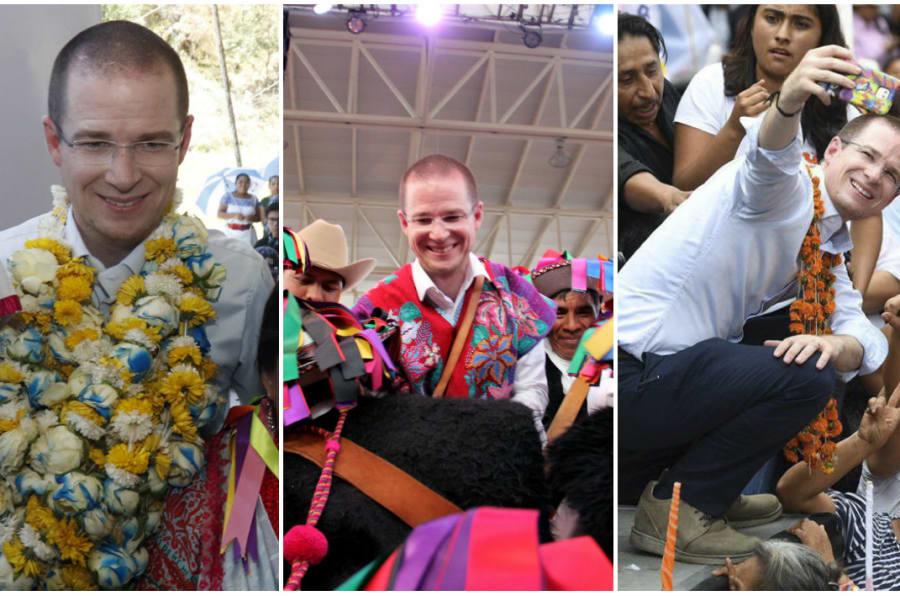Ricardo Anaya, candidato presidencial de la coalición Por México al Frente, con algunos de los accesorios que le han regalado durante sus mitines.
