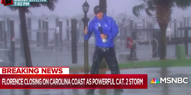 Des téléspectateur outrés par le duplex de ce reporter en plein ouragan Florence.