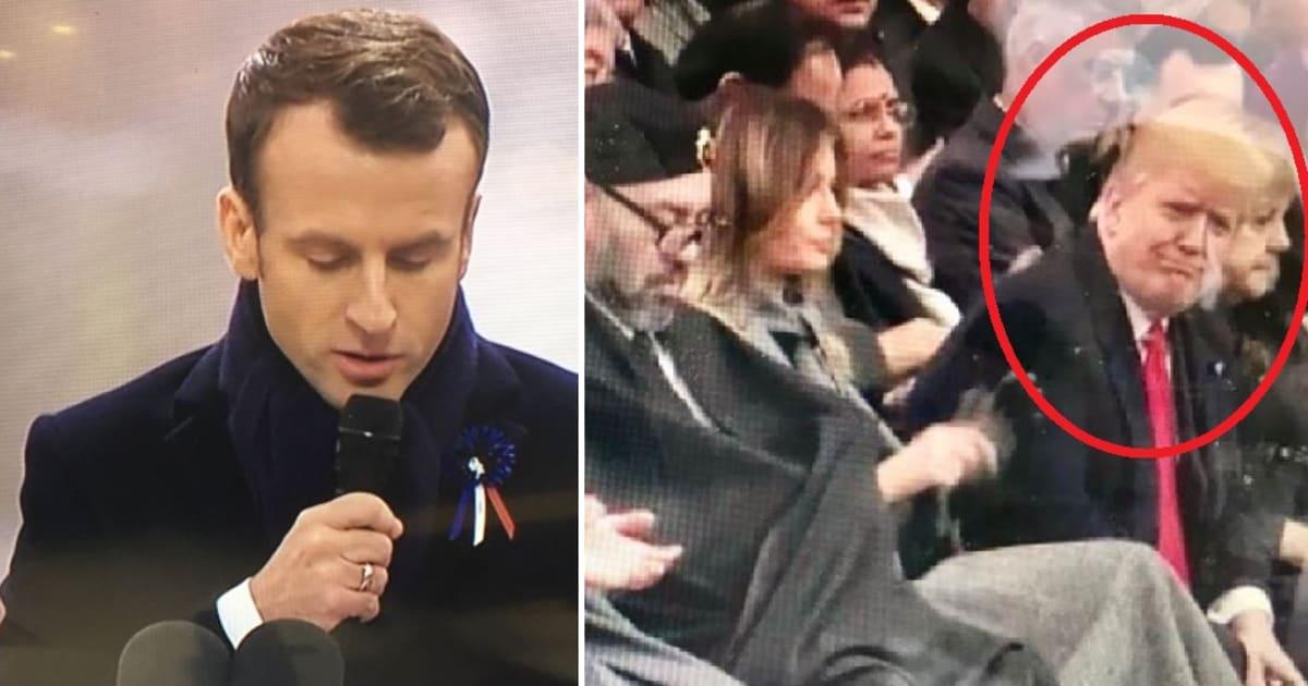 """Macron: """"Il nazionalismo è il  tradimento del patriottismo"""". E Trump non riesce a contenersi..."""