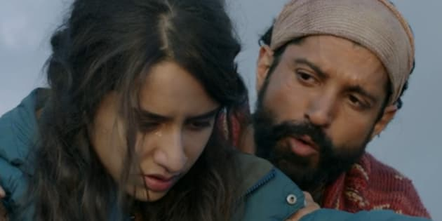 (L-R) Shraddha Kapoor and Farhan Akhtar in a screen-grab from the 'Rock On 2' teaser.