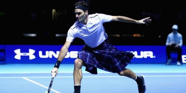 En kilt, Roger Federer n'est pas mauvais face à Andy Murray.