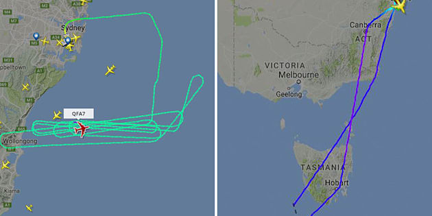 Qantas flight QF7 has been forced to dump fuel out over the ocean after wing parts were not functioning correctly.