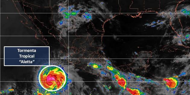 Se pronostica que Aletta se localizará por la tarde como posible huracán al suroeste de las costas de Jalisco.