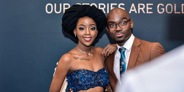 Thuso Mbedu and Musa Mthombeni on the Safta red carpet at Sun City in March.