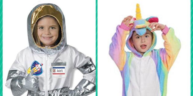 Licorne, astronaute, ou super-héros: ces costumes pour enfants se placent hors des clichés de genre, et peuvent être portés par une fille ou un garçon.