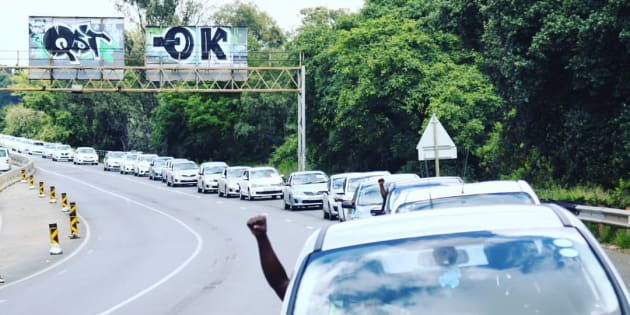 Uber drivers protest on the M1 in Johannesburg.