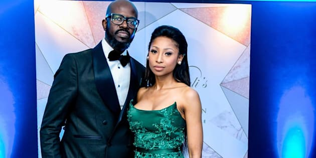 Enhle Mbali with her husband, Black Coffee.