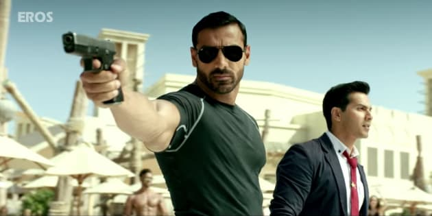 (L-R) John Abraham and Varun Dhawan in a screen-grab from the 'Dishoom' trailer.