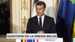 À Bruxelles, Macron n'a pas voulu commenter l'actualité française, mais l'a fait sur la