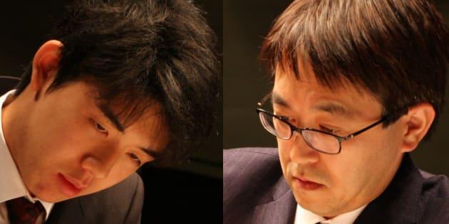 藤井聡太五段(左)と羽生善治竜王(2018/02/17=東京・有楽町朝日ホール)
