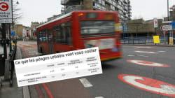 Ce tableau résume combien les péages urbains coûteront et à