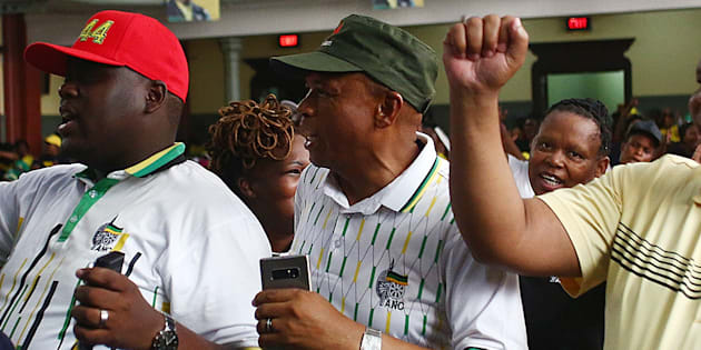 ANCYL General Secretaty, Njabulo Nzuzo, ANC North West Chairperson, Supra Mahumapelo and NEC member David Mahlobo during the African National Congress (ANC) 106th birthday celebrations at the City Hall on January 08, 2018 in East London, South Africa.
