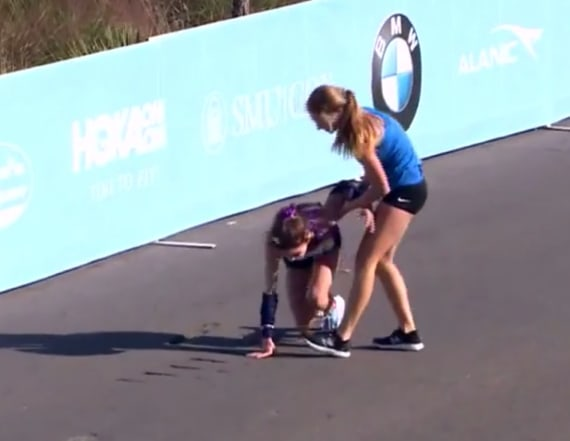 Woman wins marathon with stranger's help after fall