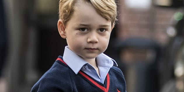 Prince George arrives for his first day of school at Thomas's School in Battersea, on September 7, 2017.