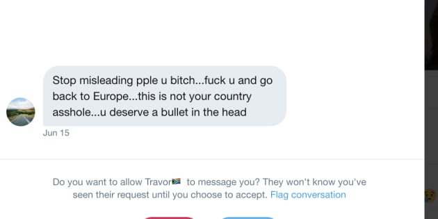 A screenshot of a direct message sent to HuffPost SA editor-at-large Ferial Haffajee on Twitter.