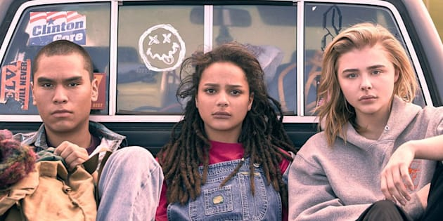 "Forrest Goodluck, Sasha Lane e Chlöe Moretz em ""The Miseducation of Cameron Post""."
