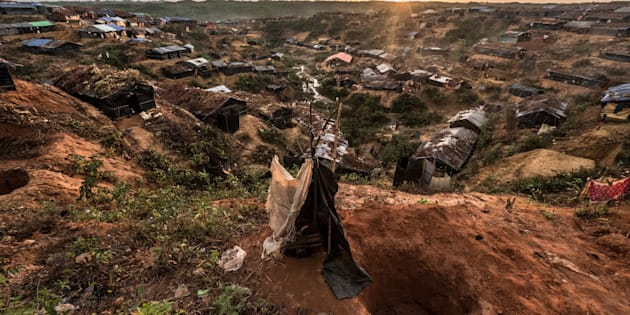 In Rohingya refugee camps in Bangladesh, people dig holes for as many as 10-15 families to use as makeshift toilets.