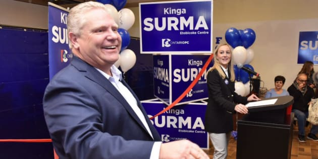 Ontario PC Leader Doug Ford is shown with candidate Kinga Sirma in a photo from Ford's Twitter account.