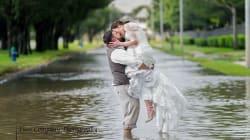 Esta pareja no dejó que el huracán Harvey les estropeara la