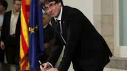 Catalan President Carles Puigdemont Signs Declaration Of Independence, But Will Seek Talks With