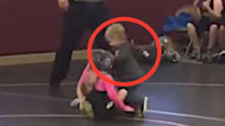 Toddler Mistakes Sister's Wrestling Match For Real Fight, Runs In To Save