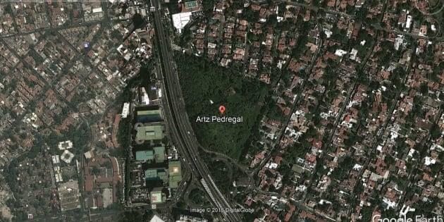 Vista aérea en 2013 del área donde se construyó la plaza Artz Pedregal, que este miércoles sufrió un derrumbe.