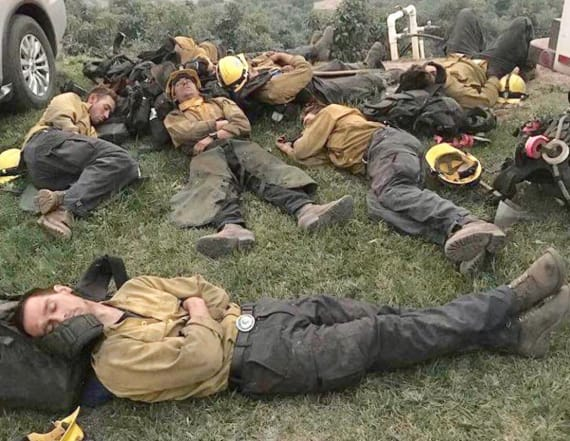 Story behind viral photo of Calif. firefighters