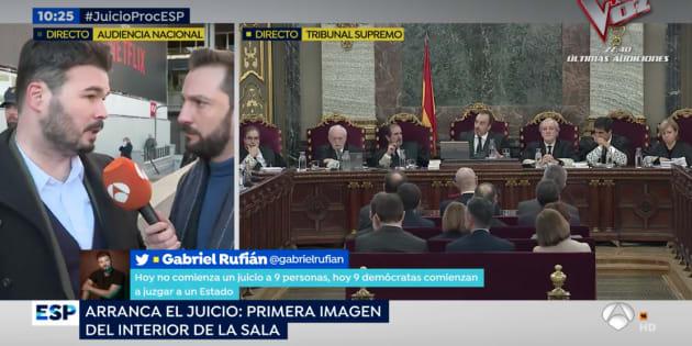 Gabriel Rufián en 'Espejo Público'.