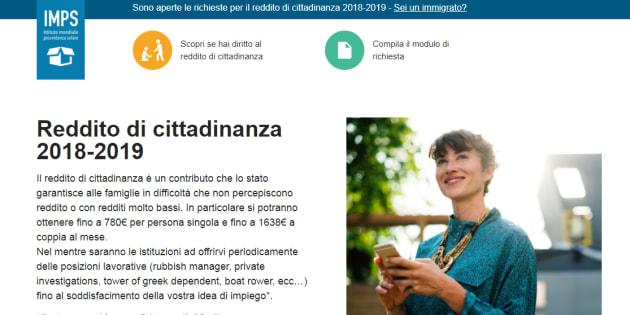 """Reddito di cittadinanza: falso sito """"IMPS"""" invita a prenotar"""
