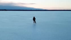 Drone Video Of Serene Ontario Lake Skate Is Like A Giant