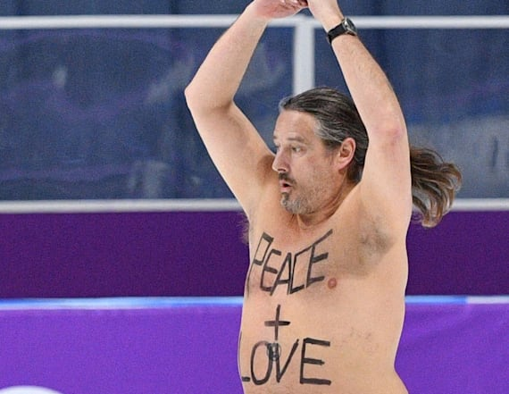 Shirtless, tutu-clad streaker hits Olympic ice