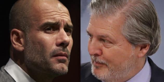 Pep Guardiola, actual entrenador del Manchester City, y el ministro portavoz Íñigo Méndez de Vigo, en sendas imágenes de archivo.
