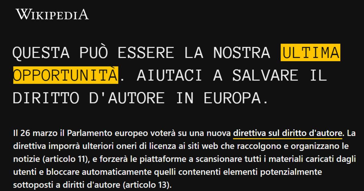 Wikipedia Italia offline in vista del voto sul copyright