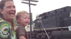 Little Boy Realised His Dad Was Driving Passing Train And Couldn't Contain His