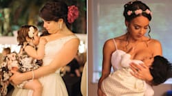 15 Beautiful Photos Of Brides Breastfeeding On The Wedding