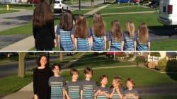 Una madre y sus seis hijos se dejan crecer el pelo para cortárselo y donarlo