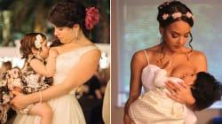 15 hermosas fotos de novias amamantando el día de su
