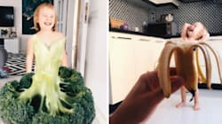 Mum 'Dresses' Daughter Up In Food and Flower Gowns And The Photos Are