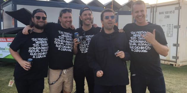 Tasmanian band Luca Brasi, with Noel Gallagher, wearing the Camp Cope shirts