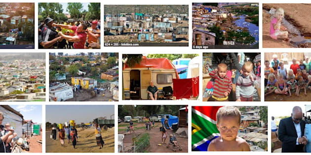 A screenshot of the results of a Google search for 'squatter camps in South Africa'.