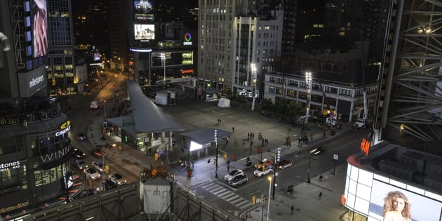 A still from a time-lapse video of Yonge and Dundas Square in Toronto, Ontario.