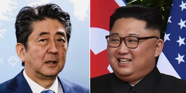 安倍首相(左)と金正恩委員長